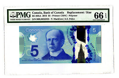 2013 $5 BANK OF CANADA PMG 66 EPQ BC-69bA REPLACEMENT STAR BANKNOTE