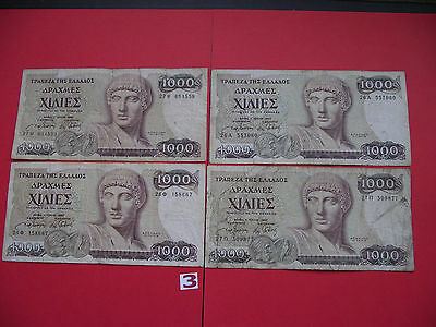 Griechland (Greece). 4 Banknoten@1000 Drachmaes (1987)