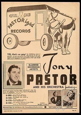 1942 Tony Pastor photo Bluebird Records vintage trade print ad
