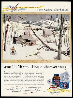 1946 Maxwell House Coffee Paul Sample Maple Sugaring art vintage print ad