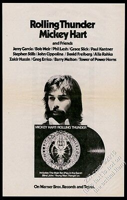 1972 Mickey Hart photo Rolling Thunder album release vintage print ad