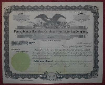 31051 USA Unissued Pennsylvania Horseless Carriage Manufacturing share cert
