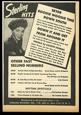1946 Lillette Thomas photo Sterling Records vintage trade print ad