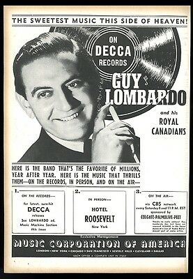 1942 Guy Lombardo photo Decca Records vintage trade print ad