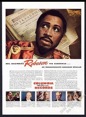 1945 Paul Robeson photo Columbia Records vintage print ad