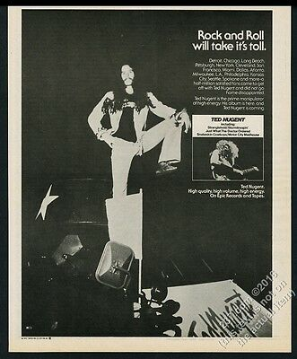 1976 Ted Nugent photo debut album release vintage print ad