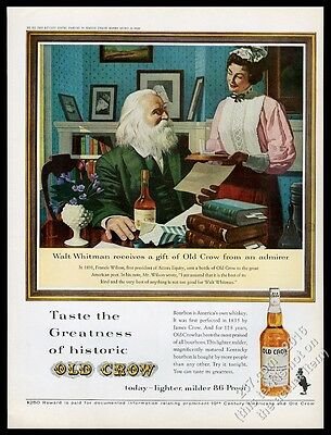 1963 Walt Whitman portrait Old Crow Bourbon whiskey vintage print ad