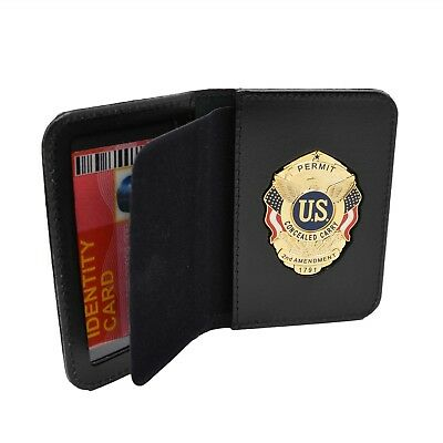 CCP Concealed Carry Permit Badge Leather Wallet Case ID Holder CWP CCW Novelty