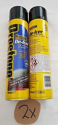 2 X Prestone De-Icer 600ml Windscreen and Wipers De-freeze Melt Ice Frost -36˚C