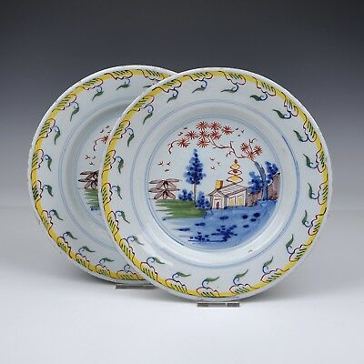 A Set Of 2 Delft Polychrome 18th Century Plates With A Scene Of A Landscape