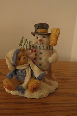 Collectible Cherished Teddy MITCH Snowman/Teddy Friendship Never Melts Away EUC