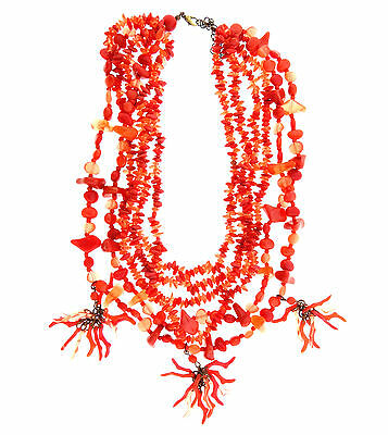 """Vintage Faux Red Coral Acrylic Lucite Bead 6 Strand Necklace 16.5-19"""""""