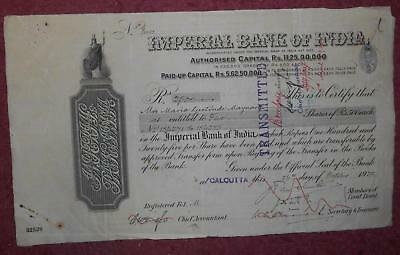 31061 INDIA 1932 Imperial Bank of India 5 shares certificate