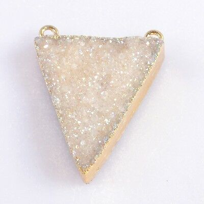 Triangle Natural Agate Druzy Titanium AB Connector Gold Plated H95603