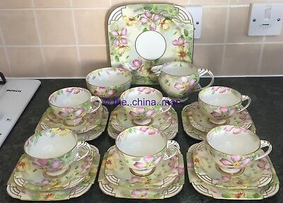 art deco PARAGON period replica QUEEN MARY CLEMATIS pattern 21 piece TEASET
