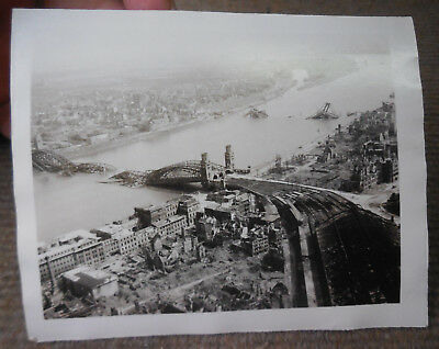 Vintage WW II USAAF 8th Air Force Cologne Bridge Germany Bombing B/W Photograph