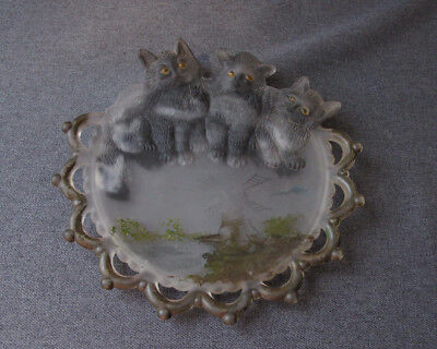 Antique Cute Reverse Paint 3  Cats Kitten Trio Frosten Glass Cards Tray  #1