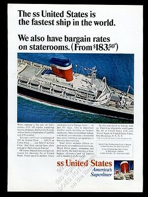 1966 S.S. United States color photo Fastest Ship in the World US Lines print ad