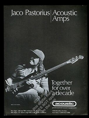 1979 Jaco Pastorius photo with bass Acoustic amp vintage print ad