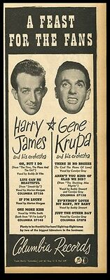 1946 Harry James Gene Krupa photo Columbia Records trade ad