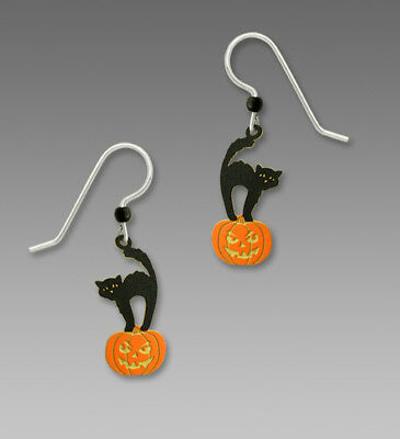 Sienna Sky BLACK HALLOWEEN CAT on PUMPKIN Earrings Sterling Fall 1639 + Gift Box