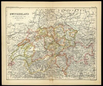 SWITZERLAND MAP c 1890's Small from John Bartholomew with Color