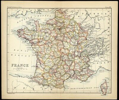 FRANCE Map with Color Small Size c 1890 by John Bartholomew Mediterranean Sea