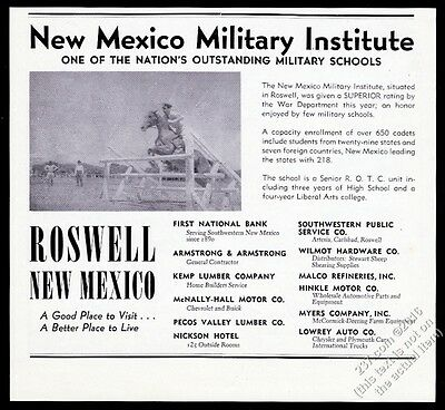 1948 New Mexico Military Institute Roswell jumping horse photo vintage print ad