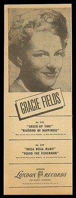 1948 Gracie Fields photo London Records vintage trade print ad