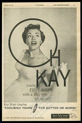 1955 Kay Starr BIG photo Foolishly Yours song release trade print ad