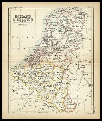 HOLLAND & BELGIUM Small Atlas Map c 1890 John Bartholomew with Color