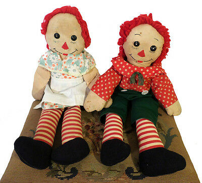 "Stuffed Early Antique 21"" Handmade Raggedy Ann & Andy Dolls Feedsack Textiles"