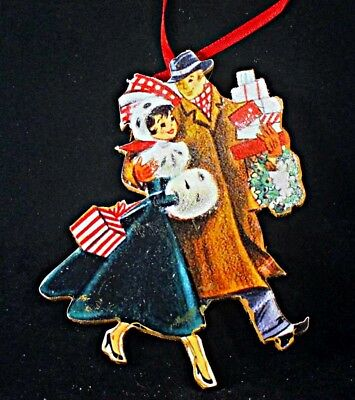 Happy 1950s Couple Ornament Handcrafted Wood Christmas Husband Wife Gift Card