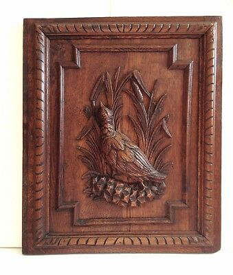 Antique Carved Wood Architectural Door Panel Game Bird Cattails Leaves French ?