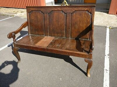 Georgian Oak Panelled Settle Bench
