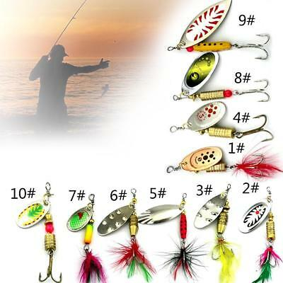 Rotating Sequins Bait Fishing Lures Crankbaits Set Quality Metal With Feather B1