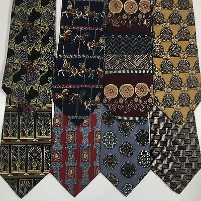 8 pc UNICEF Men VINE & FLORAL BATIK ART Silk Neck Tie LOT Lattice CHILDRENS FUND