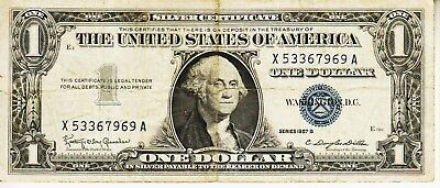 Series 1957 B    One Dollar Silver Certificate==Good   Condition