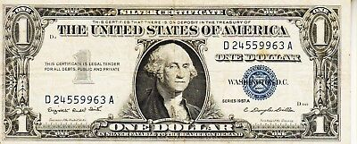 Series 1957 A         One Dollar Silver Certificate==Fair Condition