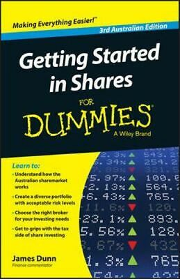 NEW Getting Started in Shares for Dummies By James Dunn Paperback Free Shipping