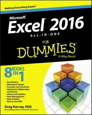 NEW Excel 2016 All-in-One For Dummies By Greg Harvey Paperback Free Shipping