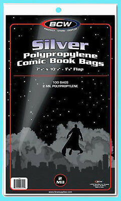 "100 BCW SILVER / REGULAR COMIC BOOK BAGS 7-1/8""x10-1/2"" Clear Plastic Archival"
