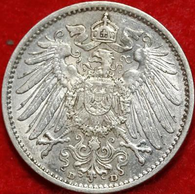 Uncirculated 1909-D Germany 1 Mark Silver Foreign Coin Free S/H