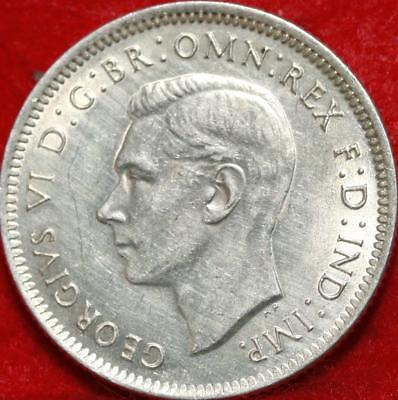 Uncirculated 1938 Australia Shilling Silver Foreign Coin Free S/H