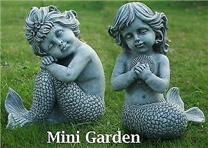 Durable Outdoor Decor Fairy Garden Mermaids Sitting Great Gift 2pcs by Hi Line