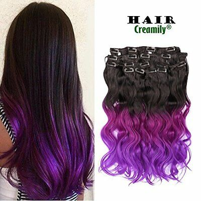 3 Tone Black Fuchsia To Purple Full Head Synthetic Clip In Hair Extensions 18""