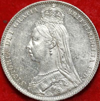 Uncirculated 1889 Great Britain Shilling Silver Foreign Coin Free S/H