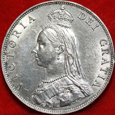 Uncirculated 1887 Great Britain Florin Silver Foreign Coin Free S/H