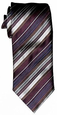 $285 New Brioni Eggplant Silver Graphite Blue Diagonal Stripe Silk Mens Neck Tie