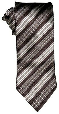 $285 New Brioni Satin Brown Multi Diagonal Fancy Stripe Silk Mens Neck Tie